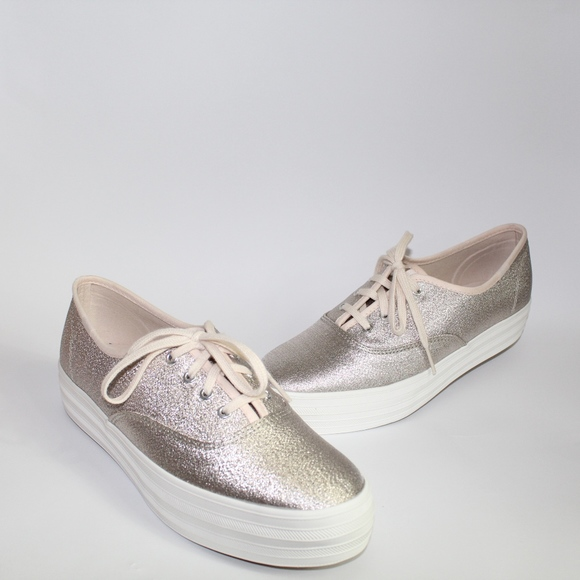 c98ca355f7dd9 Keds Champagne Triple Lurex Shimmer Sneakers 8.5